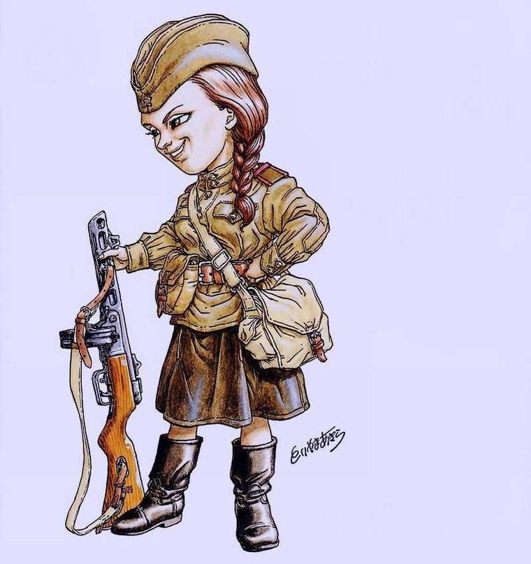 Девушка и солдат рисунки смешные